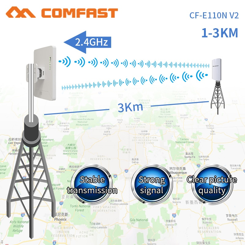Comfast 300Mbps 2.4G Wireless Outdoor Wifi Long range cpe 11dbi Antenna Wi fi Repeater Router Access point bridge AP CF-E110NV2 enlarge