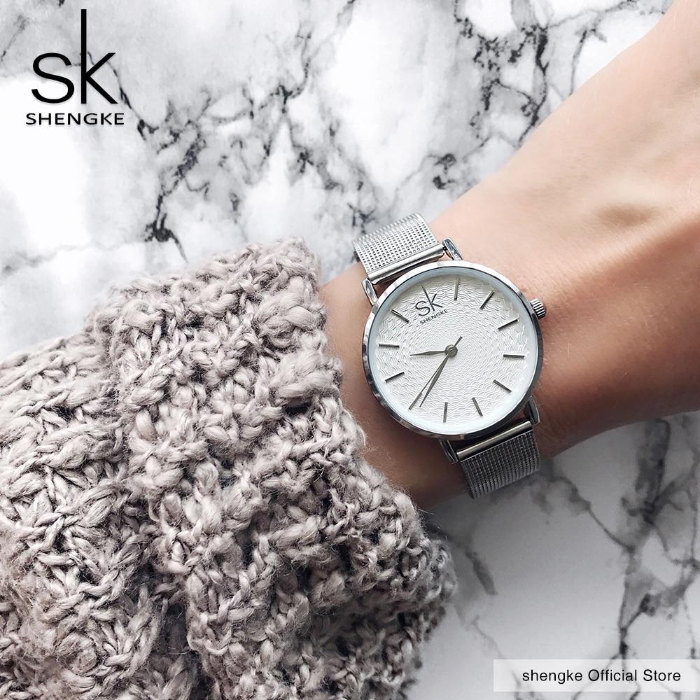 2020 SK Super Slim Sliver Mesh Stainless Steel Watches Women Top Brand Luxury Casual Clock Ladies Wr