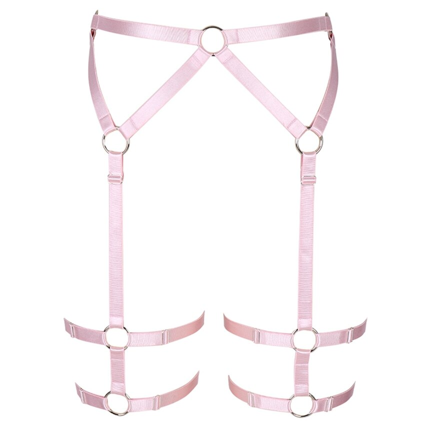 Pink Harness Garter Belt High Waist Stockings Leg Strap Elastic Adjust Goth Body Cage Panties Sexy Lingerie Dance Club Rave