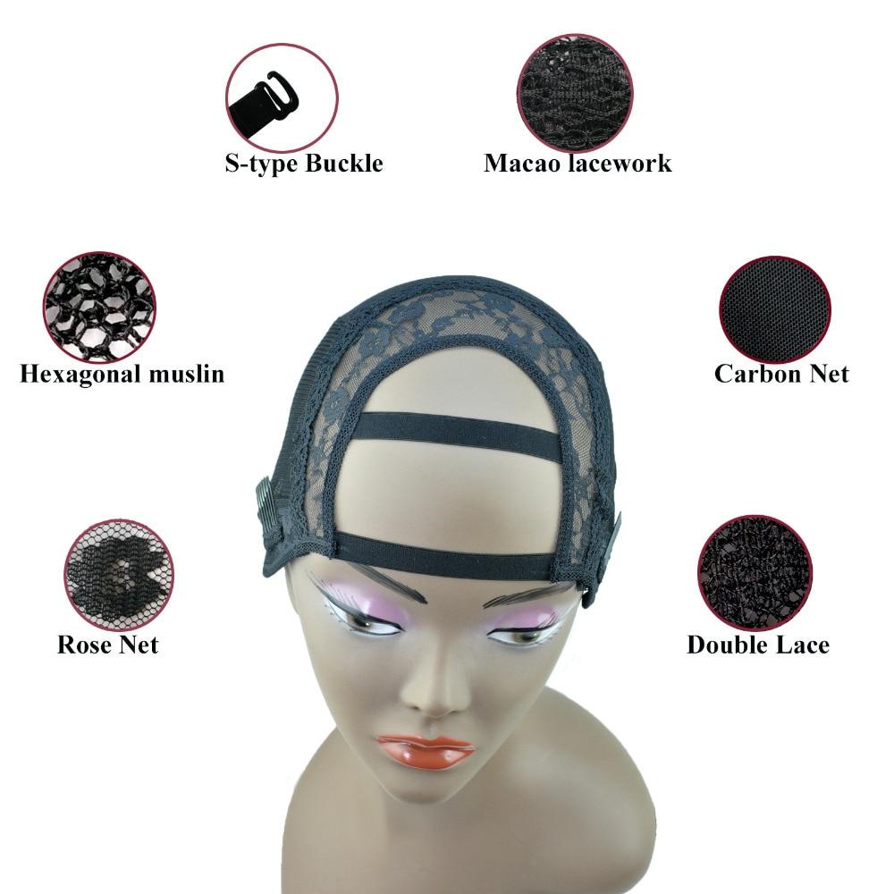 2 pente-m tamanho-largo u parte strech laço tecelagem peruca tampão fundação interior para peruca que faz a extensão do cabelo trama diy preto
