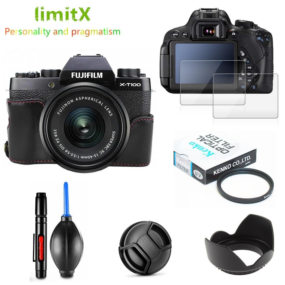 Kit de protección completa, Protector de pantalla, funda de cámara, lente con filtro ultravioleta, tapa de capó, pluma sopladora de aire para Fujifilm X-T100, lente XT100 15-45mm