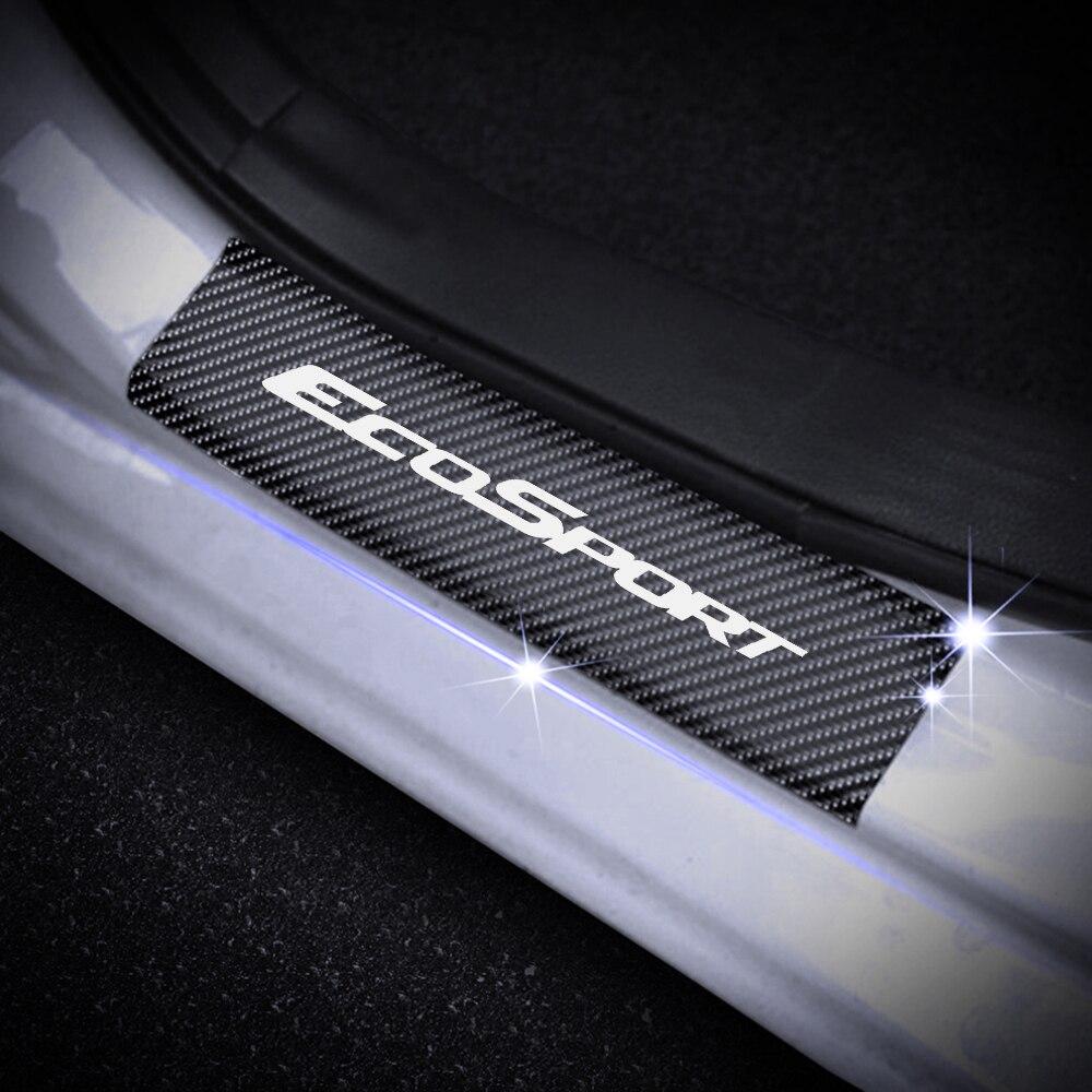 Door Sills Scuff Plate 4Pcs For Ford RANGER FOCUS Fiesta MONDEO EDGE ECOSPORT 4D Carbon Fiber Stickers Car Door Threshold Plate