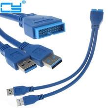 Hohe qualität Motherboard USB 3.0 20P Stecker auf 2 Ports Männlichen USB3.0 Kabel Adapter 20CM Blau