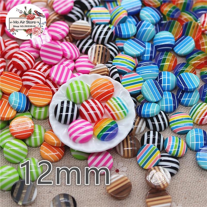 50 pçs 12mm mix cor listra botões redondos grânulo casa jardim artesanato cabochão scrapbooking craft