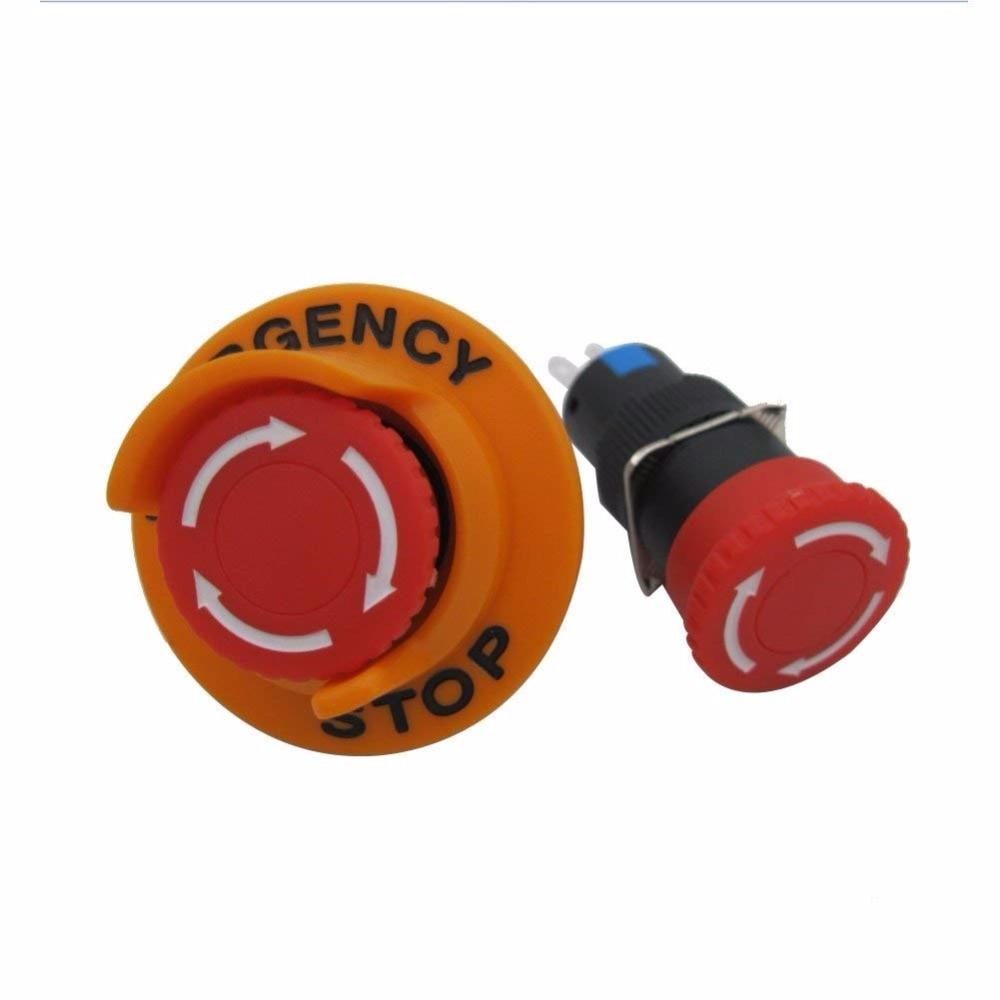 TWTADE/AC110V-250V DC12V-250V 0.1-5A SPDT 1NO 1NC 3Pin 16mm Self-Locking Mushroom Emergency Stop Push button Switch