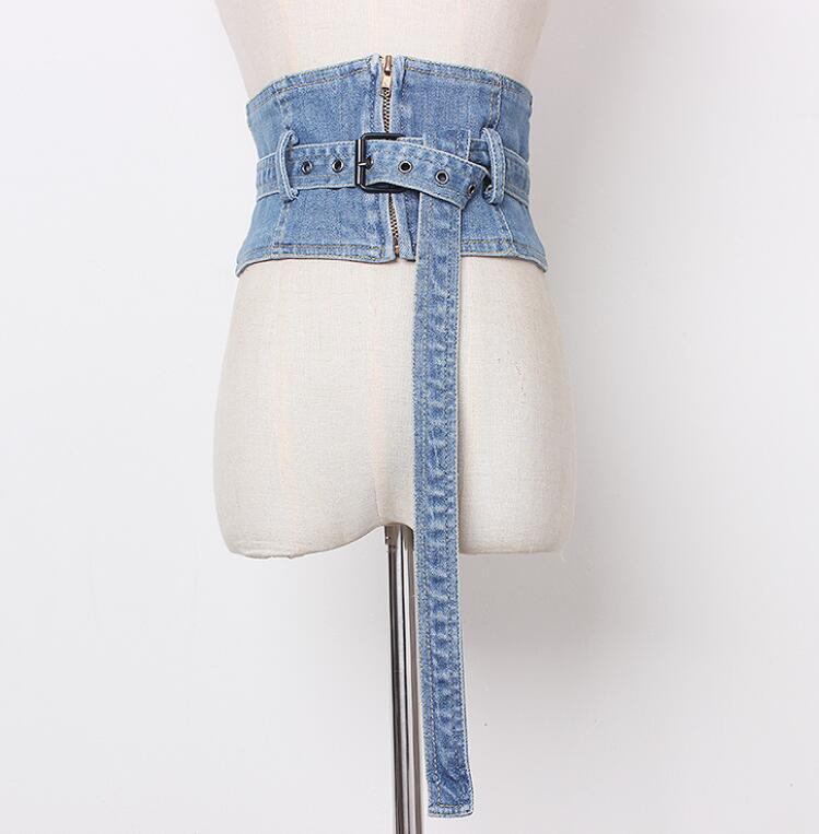 Pista feminina moda vintage zíper denim cummerbunds feminino vestido espartilhos cintura cintos decoração cinto largo r1422