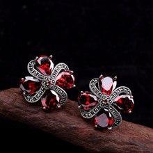 925 argent Sterling pierre naturelle ethnique grenat Earcuff pour les femmes fleur de prunier rétro Vintage Bijoux fins Bijoux