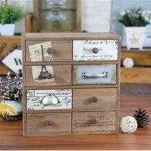 Armoire de rangement créative rétro bois massif   zakka armoire de rangement à quatre tiroirs pour épicerie finition huit-comptoirs de magasins de produits ménagers