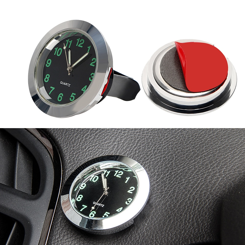 Reloj de coche con adornos mecánicos de cuarzo Mini Clip para salida de aire de coche reloj de estilo coche decoración de coche negro plateado