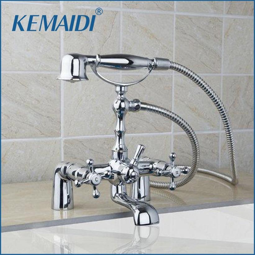 KEMAIDI-حنفية حمام ذات مقبضين ، مثبتة على سطح السفينة ، على طراز الهاتف ، شلال ، حمام ، كروم ، نحاس ، 92603