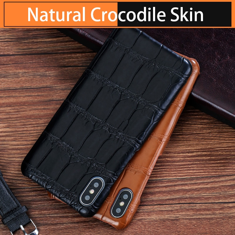 Luxury Phone Case For Apple iPhone X XS Max XR 11 pro max 12 pro max 8 100% Original Natural Crocodile Leather Back Cover Capa