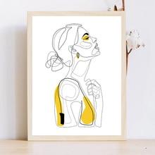 Affiche de Portrait de femme abstraite   Imprimés de lignes abstraites, tableau de mode jaune, toile, peinture minimaliste femme, décor artistique, tableau mural