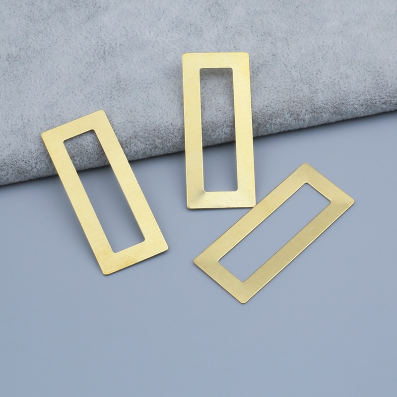 Colgantes rectangulares de latón crudo con marco hueco cuadrado DIY para fabricación de pendientes de joyería hallazgos 48x20mm, 32x18mm