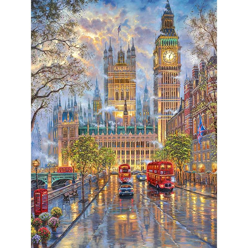 100% 5D Diy pintura de diamante de imitación «Vista de la calle de Londres» pintura de diamantes de imitación redondos 3D paisaje bordado