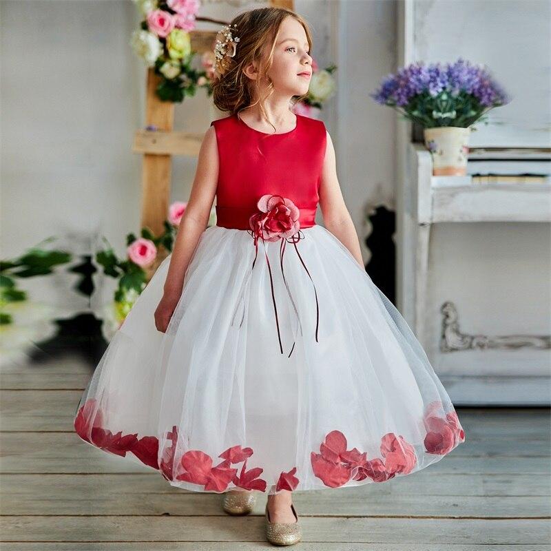 Детская одежда, платье для девочек на день рождения и вечеринку в От 5 до 7 лет, с цветами, из тюля, детское платье принцессы, Robe Fille Enfant, бальное...