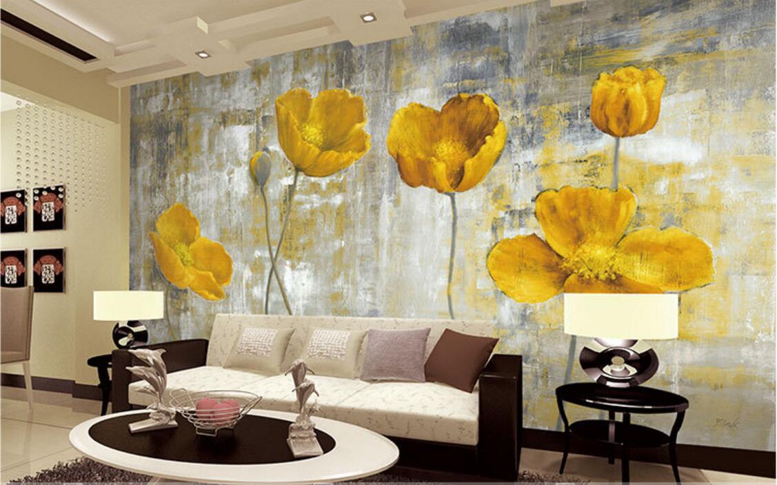 Papel tapiz amarillo con foto de flores, murales para sala de estar, arte de pared del dormitorio, decoración del hogar, pintura de papel tapiz 3d, papel de pared Floral