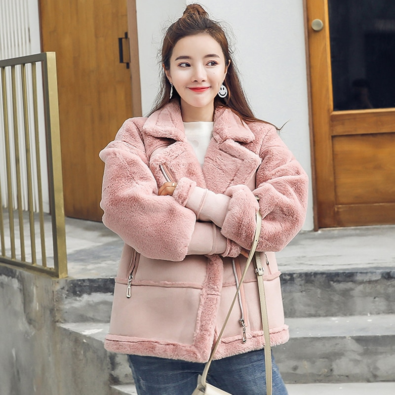 Winter Warm Women Locomotive Faux Fur Coat Luxury Design Women Clothing Female Fur Leather Overcoats Outerwear Trench Coats A158