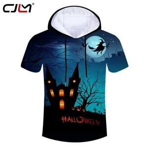 CJLM Halloween Funny Broom Witches Mens Hooded Tshirt 3D T-shirt Man Tee Shirt Pullover Printed Creative Pattern Unisex Clothes