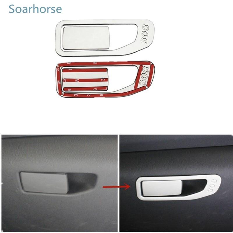 Soarhorse For Peugeot 308 2016 2017 Instrument Toolbox Glove box storage box handle cover Decorative trim