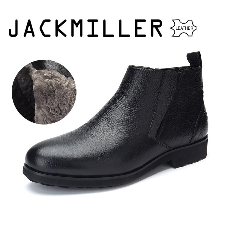 Jackmiller أعلى العلامة التجارية الشتاء الرجال الأحذية جلد البقر للرجال الصوف بطانة لطيفة ودافئة الانزلاق على سهلة وضع على اللون الأسود