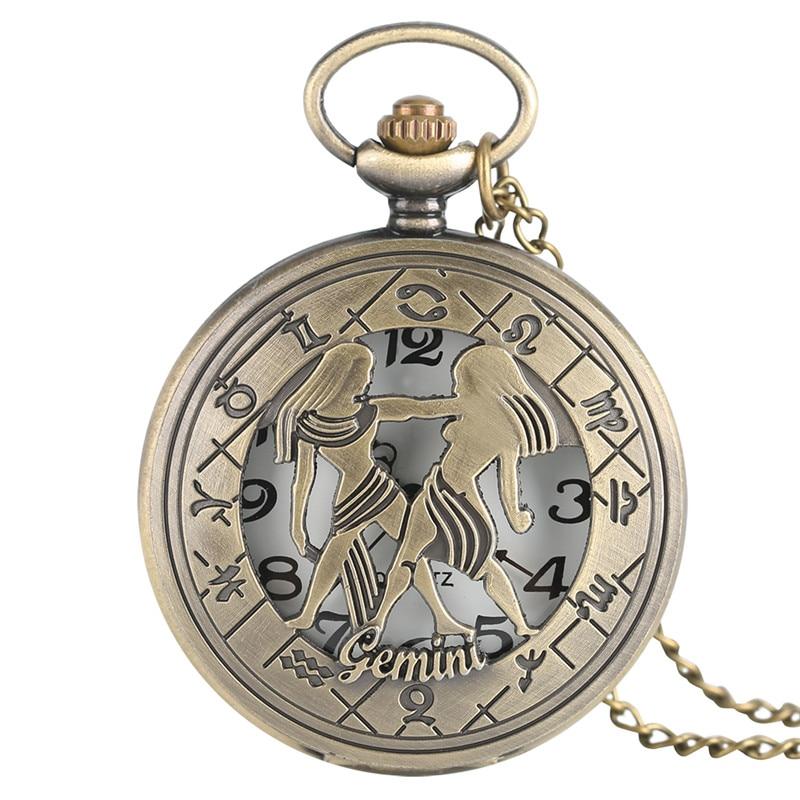 Женские карманные часы Gemini, Ретро стиль, подвеска, цепочка, 12 созвездий, кварцевые часы, бронзовые, сексуальные, для девушек, часы Reloj, лучший ...