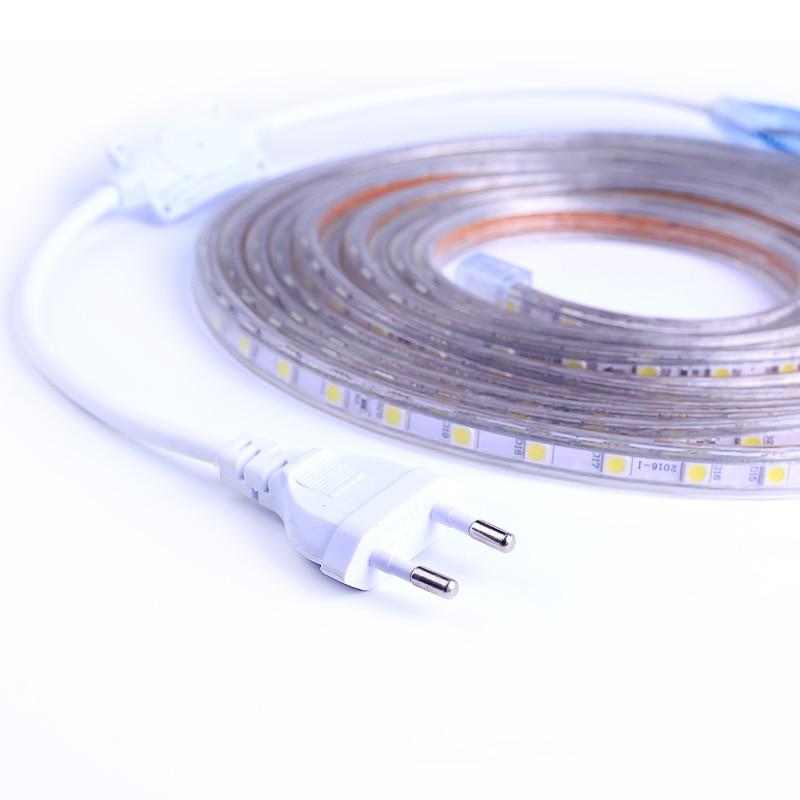 SMD 5050 AC220V LED Streifen Flexible Licht 60leds/m Wasserdichte Led-Band LED Licht Mit Power Stecker 1M/2M/3M/5M/6M/8M/9M/10M/15M/20M