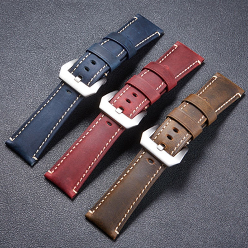 Crazy Horse Sports Men Genuine Leather Watchband 22mm 24mm 26mm Red Blue Brown Handmade Watch Strap Band With Solid Button