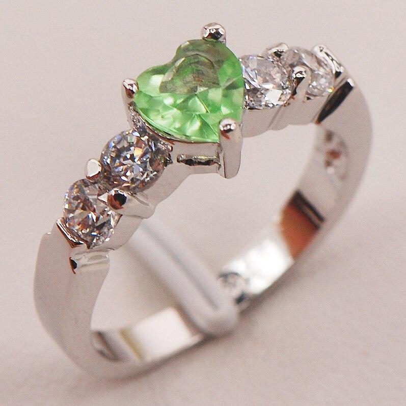 Peridot branco cristal zircão 925 prata esterlina anel tamanho 5 6 7 8 9 f669 moda