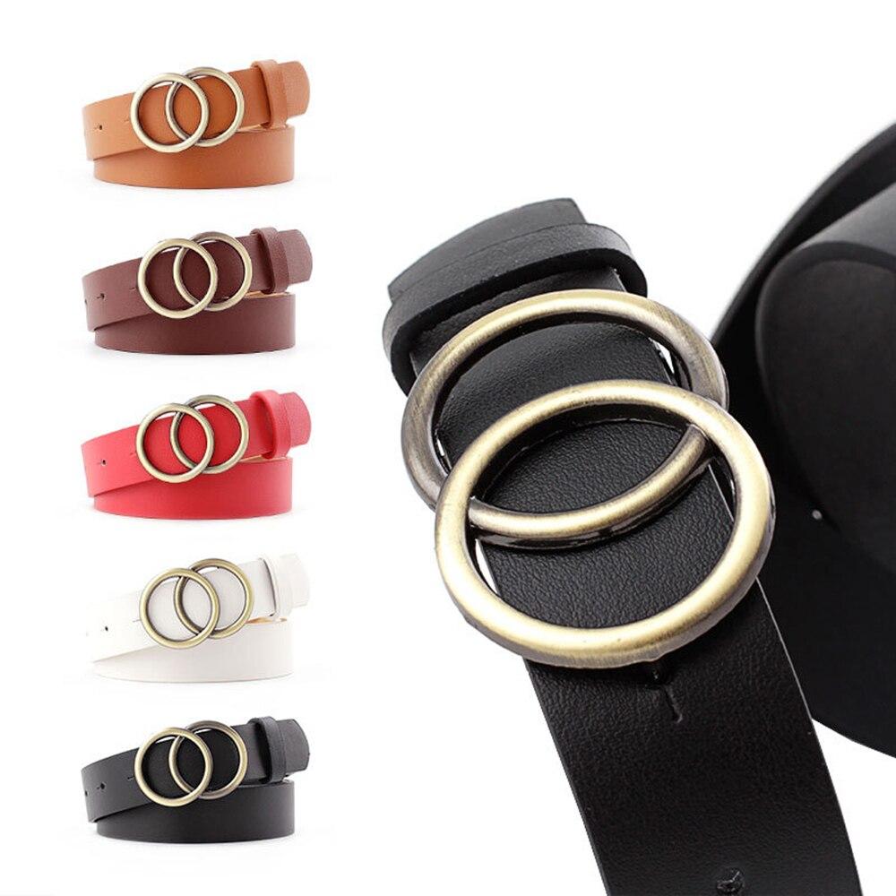 New Vintage Double Round Buckle Belt 2019 Fashion Leather Waist Belt  for Women Female Harajuku Black Red Solid Color Belt