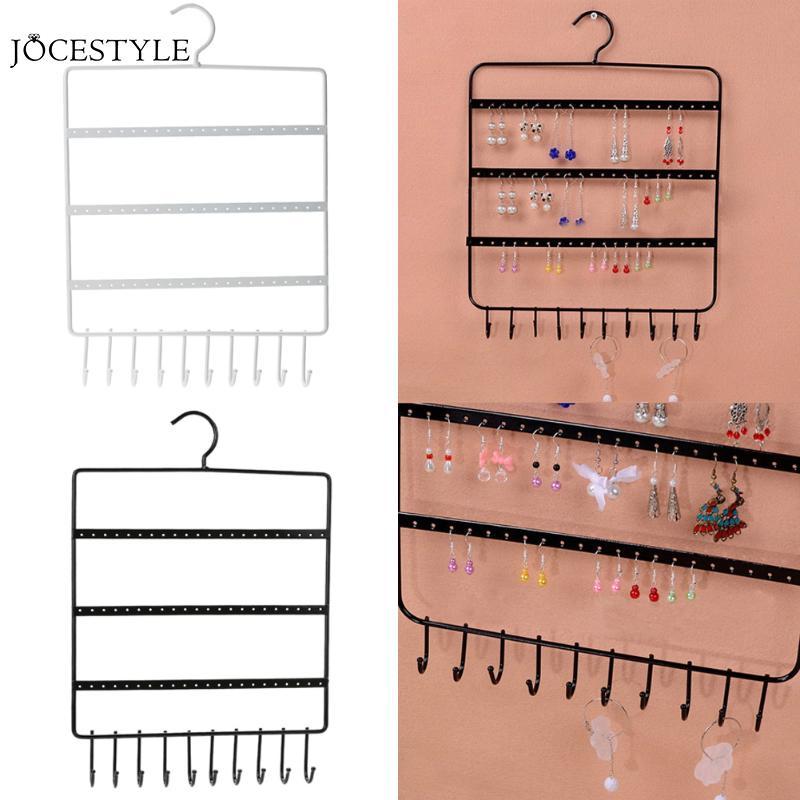 Nuevo organizador de 66 agujeros y 10 ganchos para pendientes de pared, soporte para colgar joyas, expositor de collar, soporte para estante, envío directo