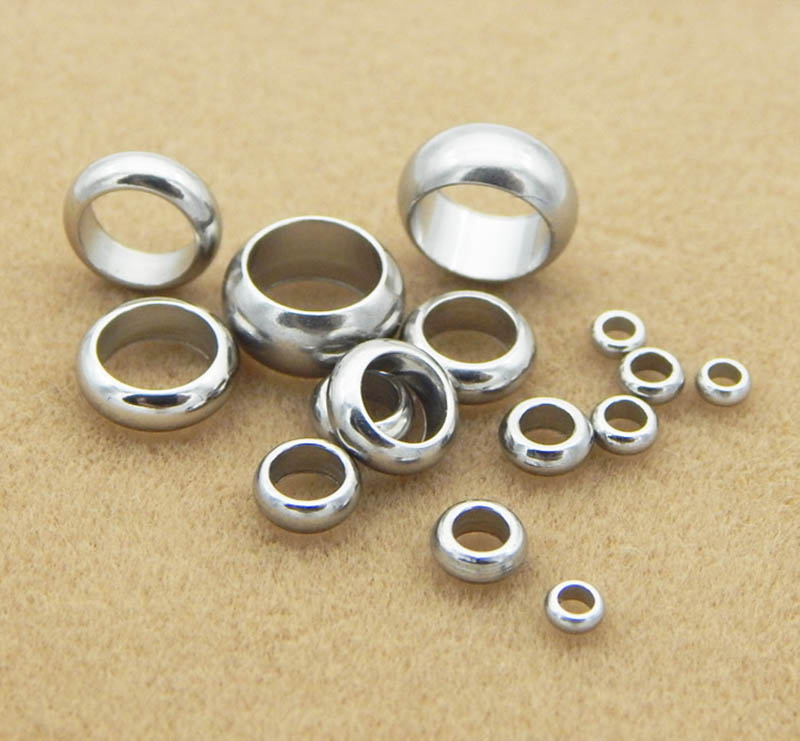 AliExpress - 50pcs Spacer Bead Stainless Steel Metal Bead for Bracelet Jewelry Making Fit 2/2.5/3.8/6/8mm Leather Rope Wire DIY Accessories