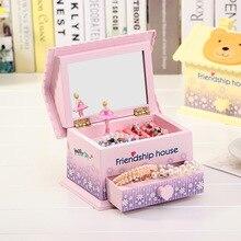 Boîte à musique horloge avec miroir pour filles   Boîte de rangement de bijoux, boîte à musique rotative en forme de maison, jouet, cadeaux danniversaire