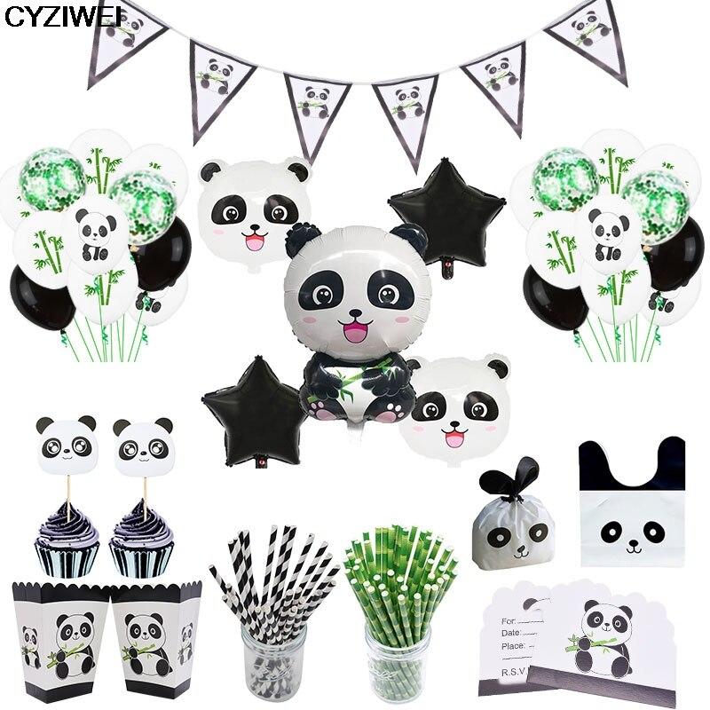 1 Juego de guirnaldas de dibujos animados de animales Panda para fiestas, globos de papel de aluminio, pajitas a rayas, bolsa de caramelos, decoración para Tartas, vajilla para fiesta de bienvenida de bebé