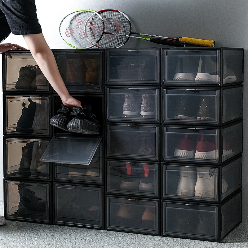 Caja de zapatos transparente gruesa apilable de 3 uds, caja de almacenamiento plegable, caja de almacenamiento de zapatos de plástico resistente al polvo