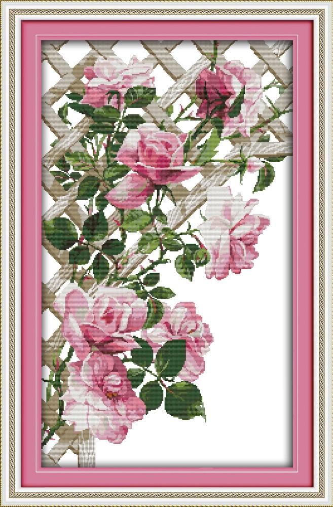 Joy Sunday Pink roses beauty cross stitch pattern kits handcraft make embroidery with chart