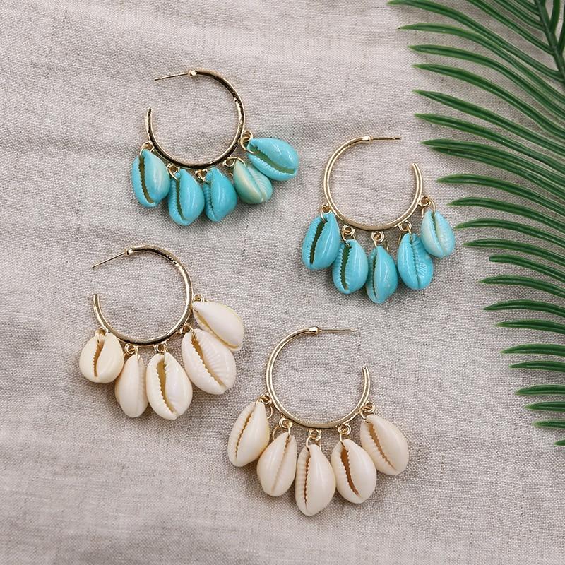 New Fashion Shell Earrings for Women Bohemian Seashell Large Hoop Earring Summer Beach Earing Pendientes Concha Jewelry 2019