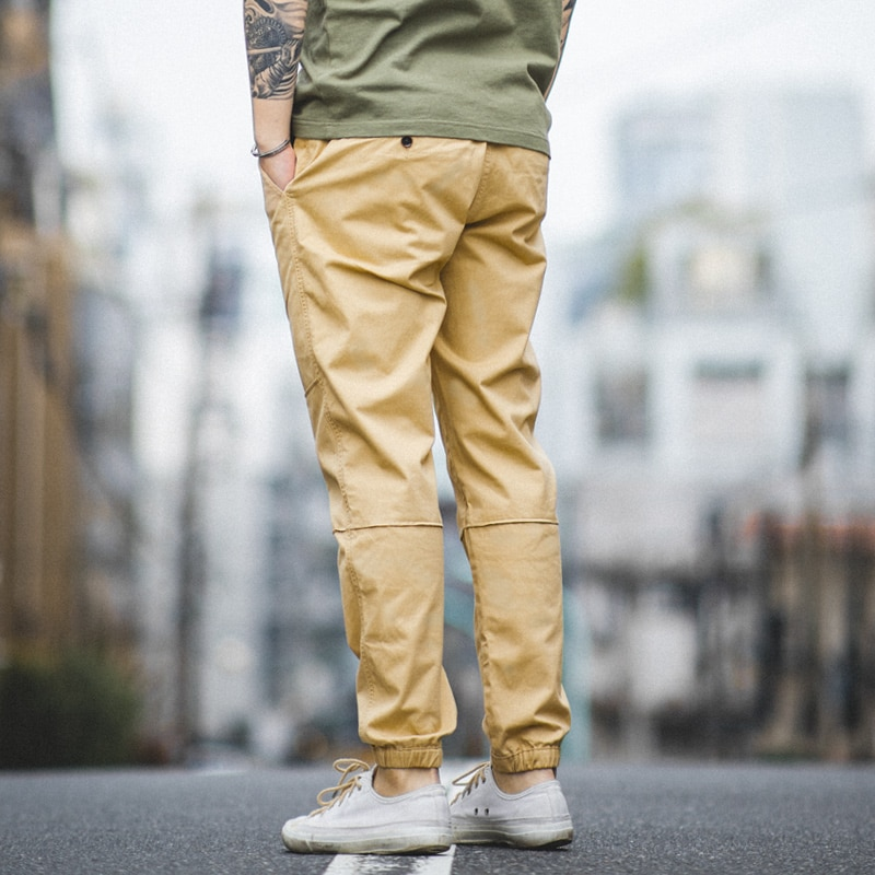 Maden, pantalones casuales para hombre, pantalones de algodón de color caqui, pantalones de pies de viga para hombre