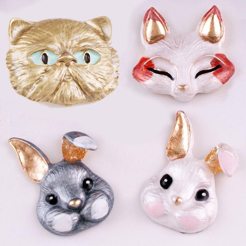 Botones a presión MF777 de Metal de conejo, zorro y gato de 18mm para joyas en forma de broche para pulsera para mujeres y niñas