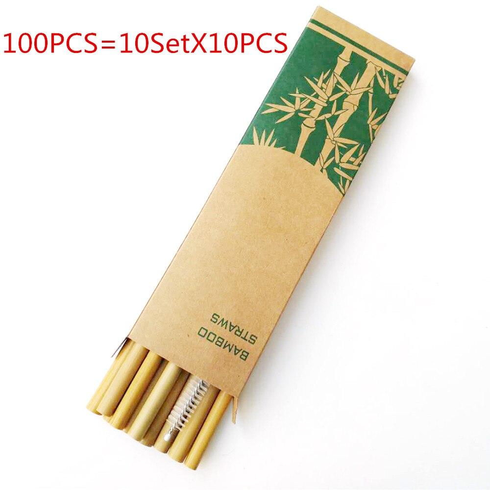 Novo 100 pçs bambu canudos bebendo reutilizáveis eco-friendly party cozinha + escova limpa útil ferramenta de cozinha 2019 novo