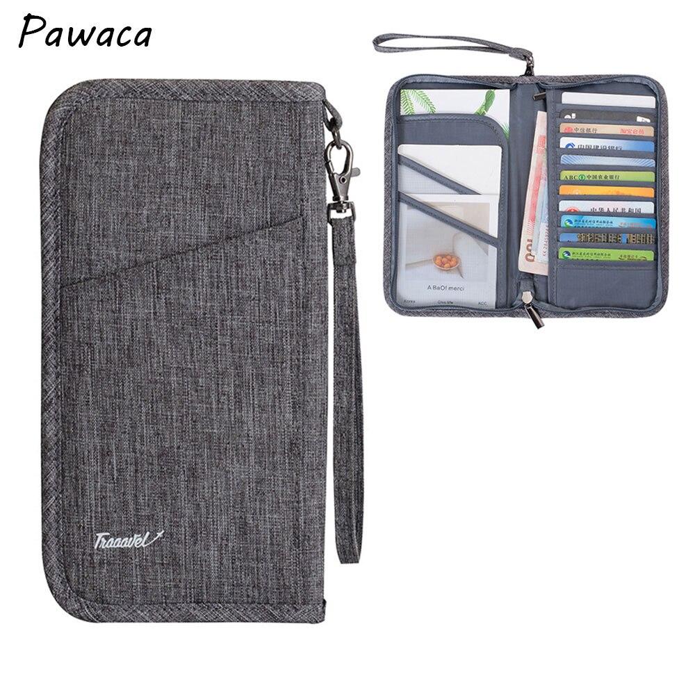 Organizador de viaje para hombre, tarjetero para pasaporte, tarjetero para mujer, cartera impermeable con múltiples bolsillos, paquete de tarjetas