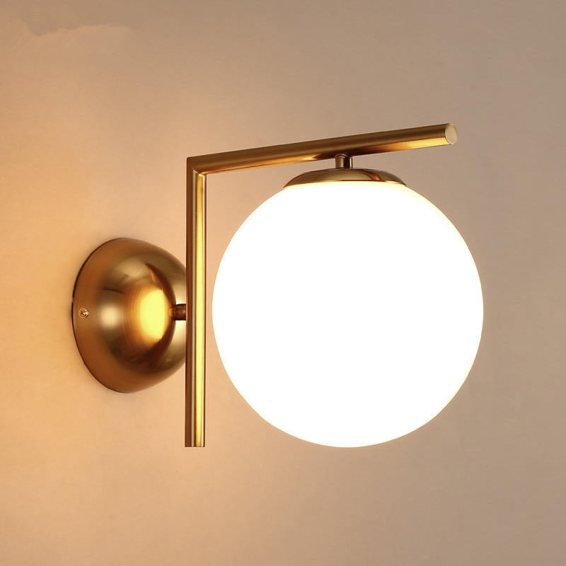 Modern Wall Lamp Glass Sconce Luminaire Ball Light Gold Chrome Dia.30cm Glass Bedroom E27 12W LED Bulb Home Lighting Lampara