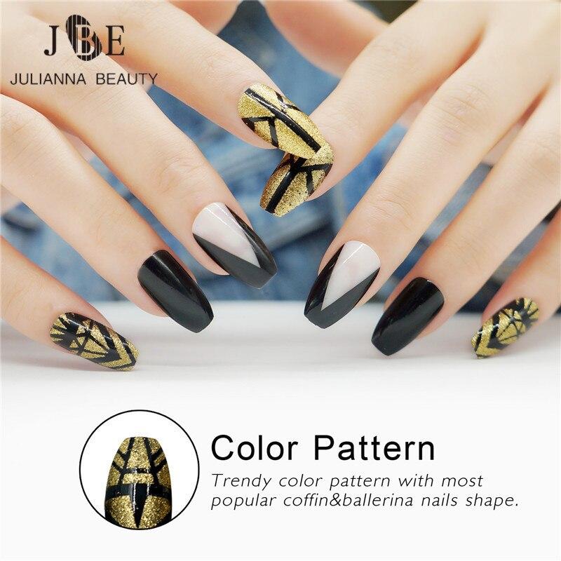 Julianna Beauty 24pcs False Nails Long Ballerinas Fake Nails UV Gel Full Nail Tips Acrylic Gold Glitter Fingernail
