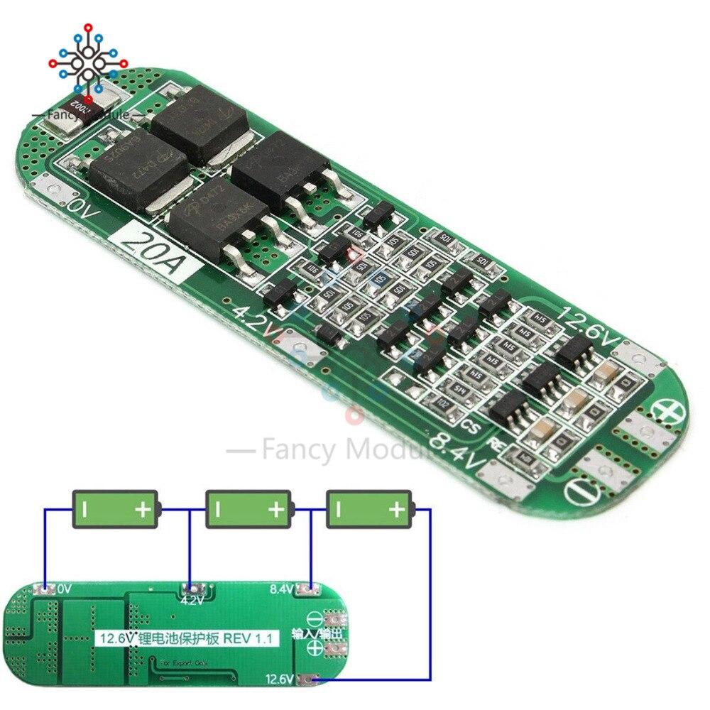 3S 20A Li-ion batería de litio 18650 cargador PCB Placa de protección BMS 12,6 V módulo celular