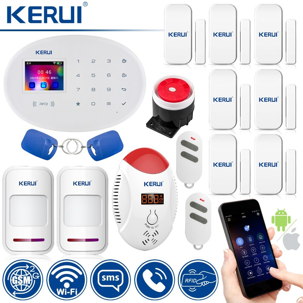 KERUI W20 Smart Home Alarm WIFI GSM RFID Karte Sicherheit Alarm System Mit 2,4 zoll TFT Touch Panel Motion Detektor alarm