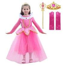 Meisjes Deluxe Aurora Doornroosje Prinses Jurk Tule Halloween Kostuum Kinderen Sprookje Belle Cosplay Tutu Jurk Met Lange Mouwen