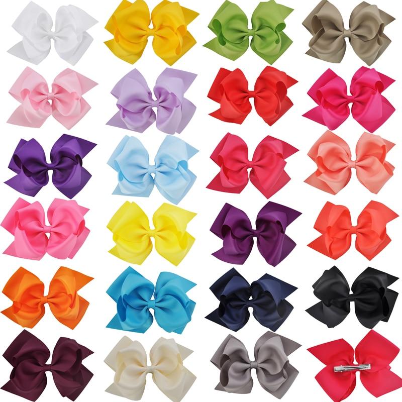 1 Pza. Lazo de 6 pulgadas, doble capa, cinta de grogrén sólido, lazo para el pelo para niñas, pinzas para el pelo con lazo, accesorios para el cabello, horquillas de baile