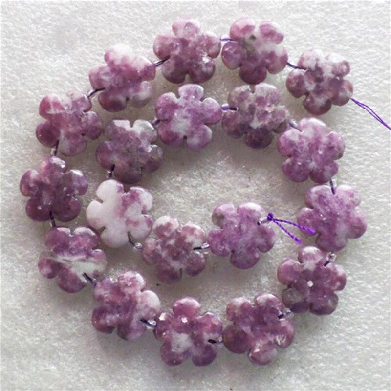 (1 hebra/lote) venta al por mayor tallada flor lepidolita púrpura cuenta suelta 15,5 pulgadas 20x19x7mm envío gratis joyería de moda LY7874