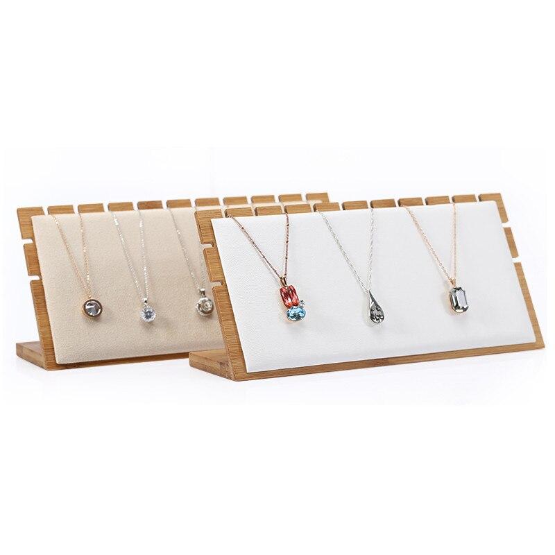 Cadena de madera de bambú soporte de exhibición de joyería colgante soporte de exhibición de collar estante de exhibición de joyería bloques de exhibición