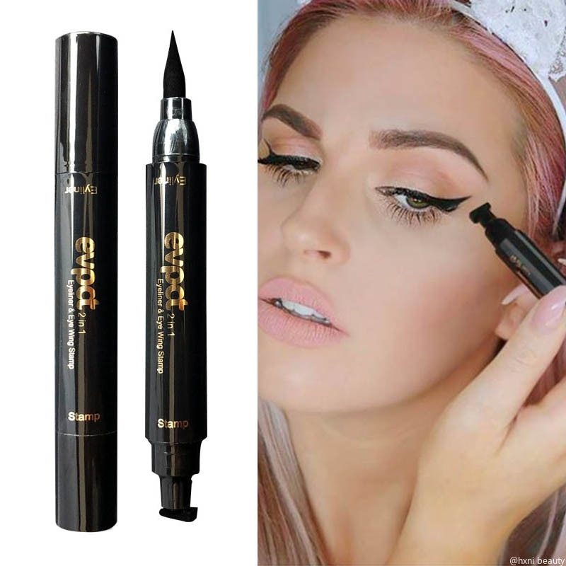 Жидкая подводка для глаз Evpct, 7 цветов, 2 в 1, с блеском, подводка для глаз, штамп, тонкая печать макияжа крыльями, черный, коричневый, дымчатые глаза, карандаш TSLM1