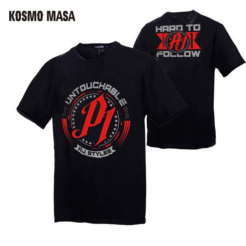 KOSMO MASA Wrestling Men T-shirts Cotton T Shirt Men Cool Summer Funny Print Tshirt For Men 2019 Casual Short Sleeve Tops MC0174